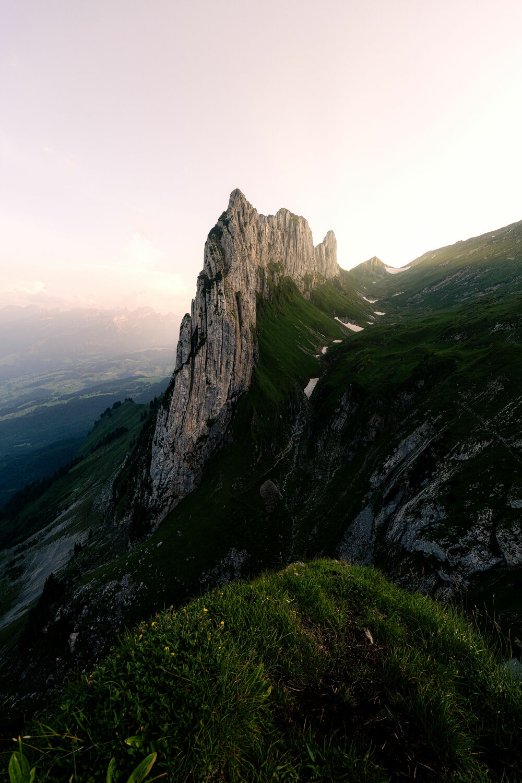 Bild mit Berge, Alpen, Landschaft, Swiss Mountain, Sonnenuntergang/Sonnenaufgang, Schweiz, ausblick, Saxer Lücke, Switzerland