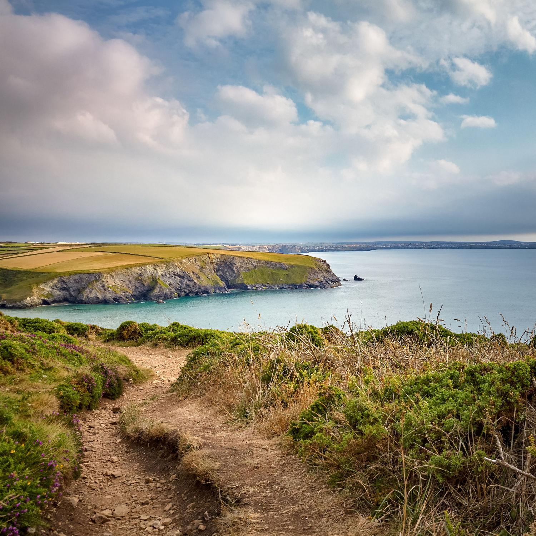 Bild mit Landschaften, Meere, Urlaub, England, Meerblick, Weg, Wanderweg, Küste, Wege und Pfade, Klippen, Cornwall, mawgan porth