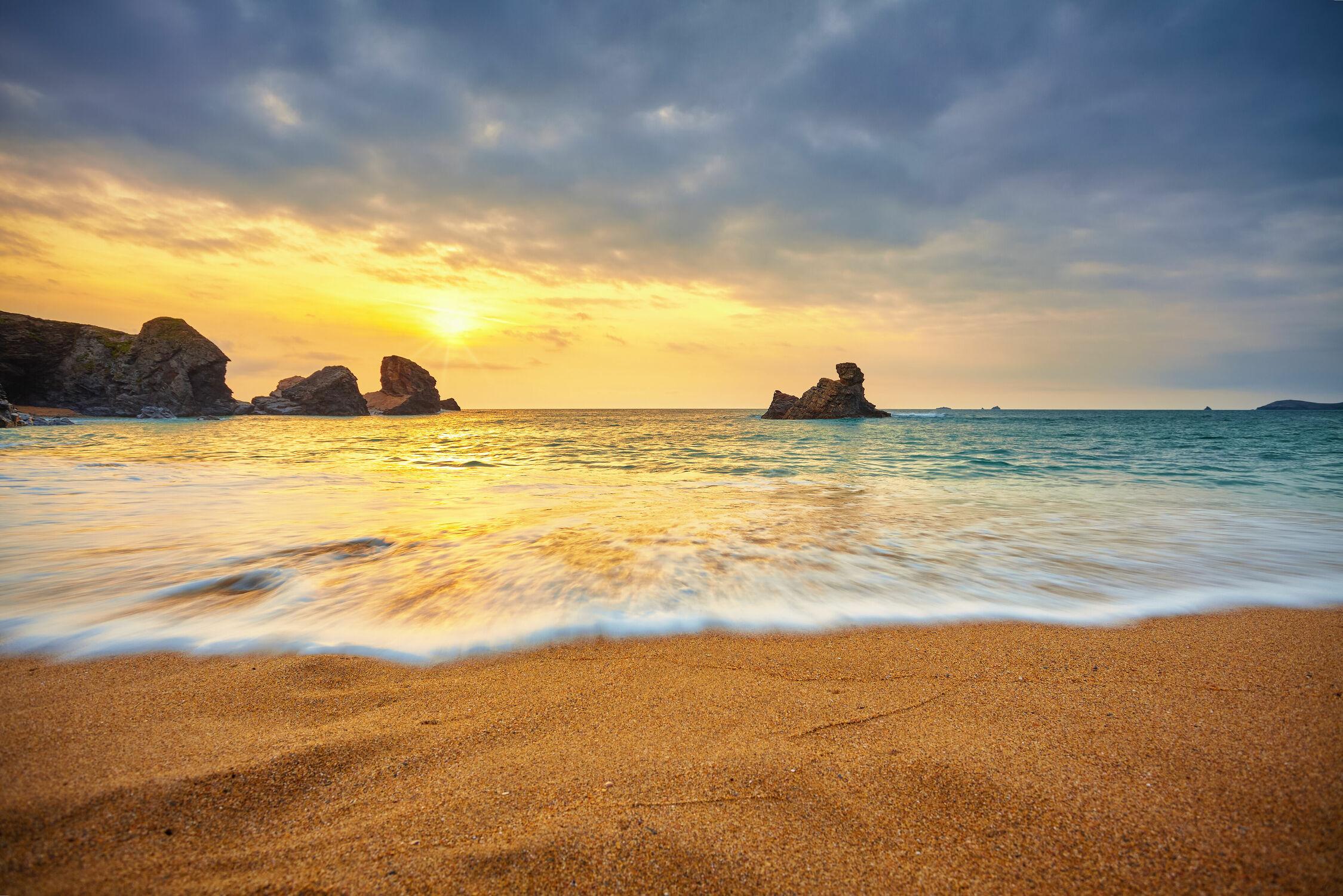 Bild mit Sand, Sonnenuntergang, Strand, England, Küste, Abend am Meer, großbritannien, Welle, Cornwall, porthcothan