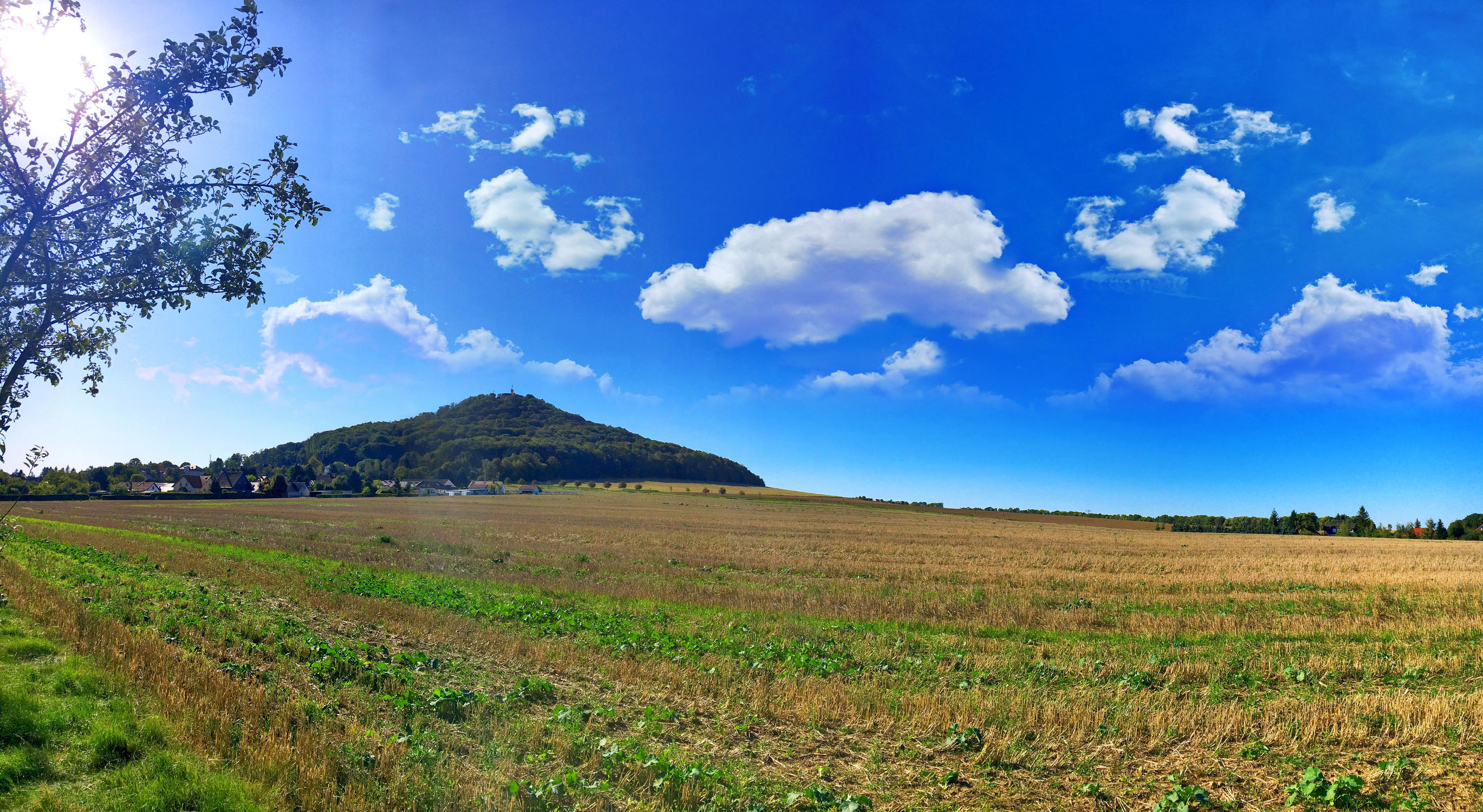 Bild mit Wolken, Panorama, Wolkenhimmel, Stadt Görlitz, Görlitz, Feld, Landeskrone, Feldblick, Panorama Landeskrone, Blick über das Feld, Görlitz Panorama