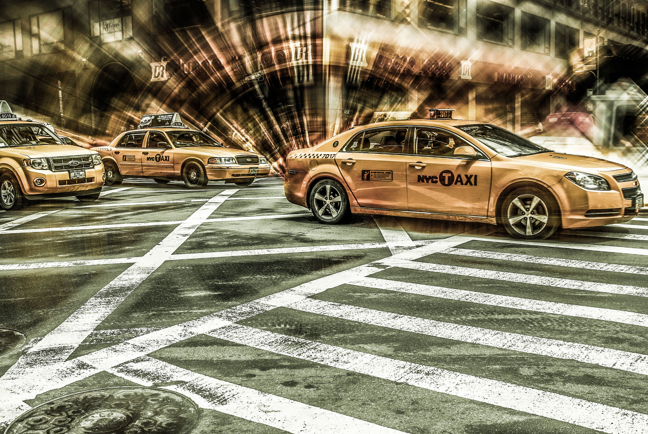Bild mit Autos, Architektur, Straßen, Panorama, Stadt, Abstrakt, urban, New York, New York, New York, monochrom, Staedte und Architektur, USA, schwarz weiß, hochhaus, wolkenkratzer, metropole, Straße, island, Hochhäuser, SW, Manhattan, Brooklyn Bridge, Yellow cab, taxi, Taxis, New York City, NYC, Gelbe Taxis, yellow cabs, empire state building, one world trade center, skyscraper