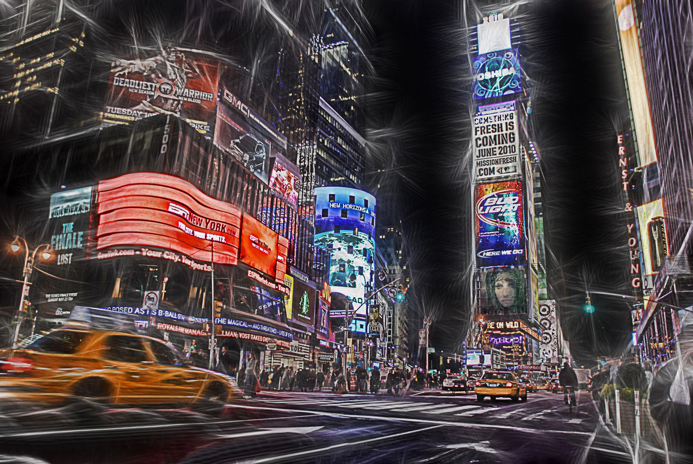 Bild mit Autos, Architektur, Straßen, Stadt, New York, Staedte und Architektur, USA, hochhaus, wolkenkratzer, metropole, Straße, Hochhäuser, Manhattan, Brooklyn Bridge, Yellow cab, taxi, Taxis, New York City, NYC, Gelbe Taxis, yellow cabs, 1st Ave, Times Square