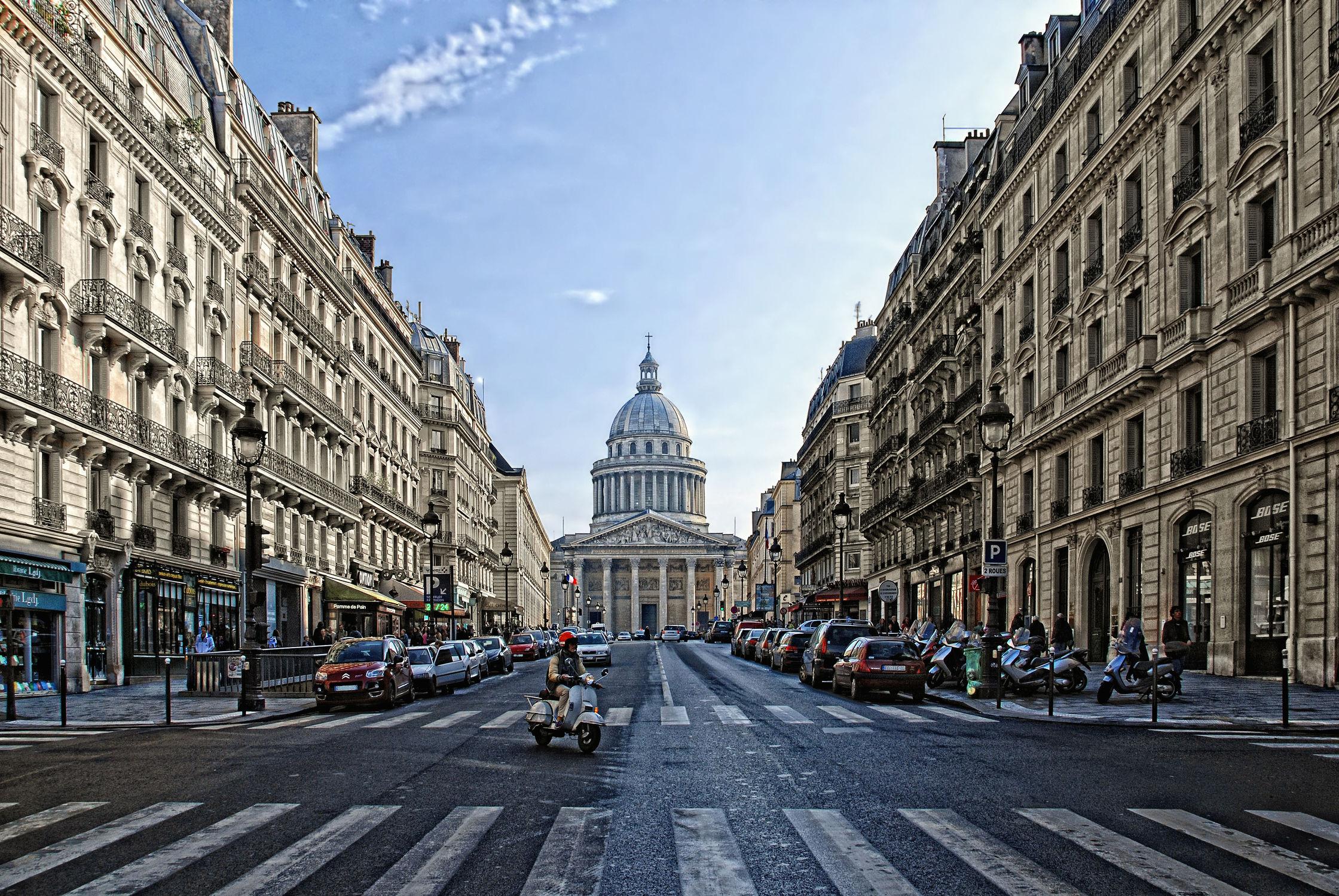 Bild mit Architektur, Sehenswürdigkeit, romantik, City, Sehenswürdigkeiten, Paris, Straße, Stadtleben, Grossstadt, Pariser, Pantheon Paris
