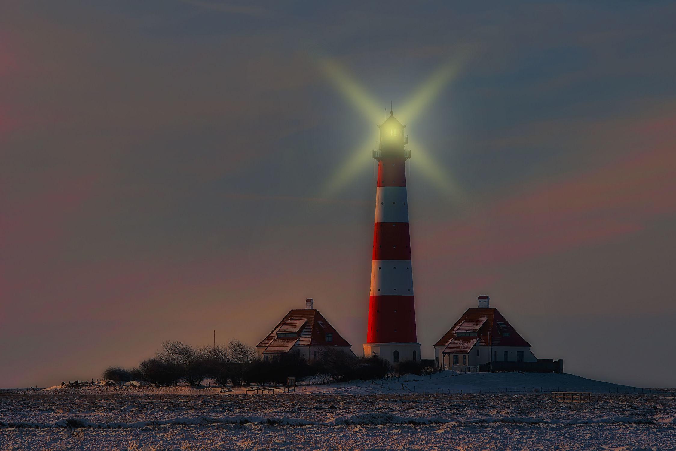 Bild mit Landschaften, Winter, Leuchttürme, Landschaft, Licht, winterlandschaft, Leuchtturm