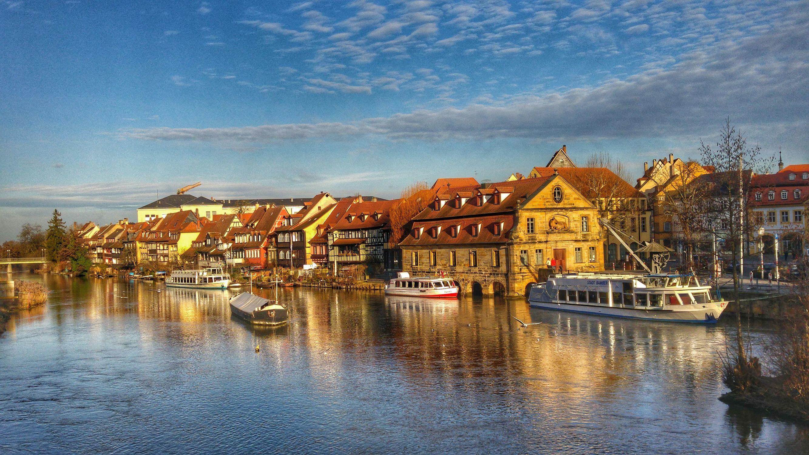 Bild mit Wasser, Urlaub, Deutschland, Blau, Stadt, City, Reise, Städtereisen, germany, Fluss, franken, sightseeing, regnitz, bamberg, franconia
