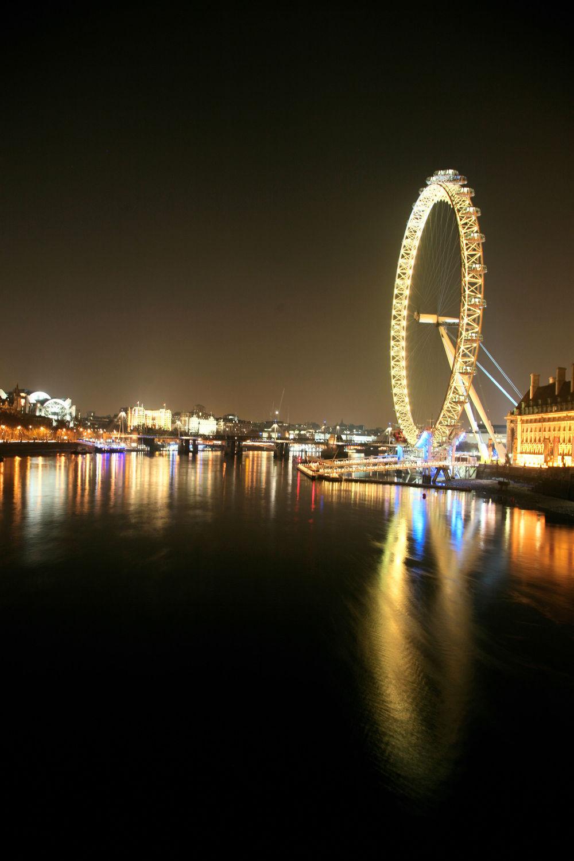 Bild mit Städte, England, London, Stadt, City of London, City, Nacht, Nacht, Stadtleben, Riesenrad, London Eye