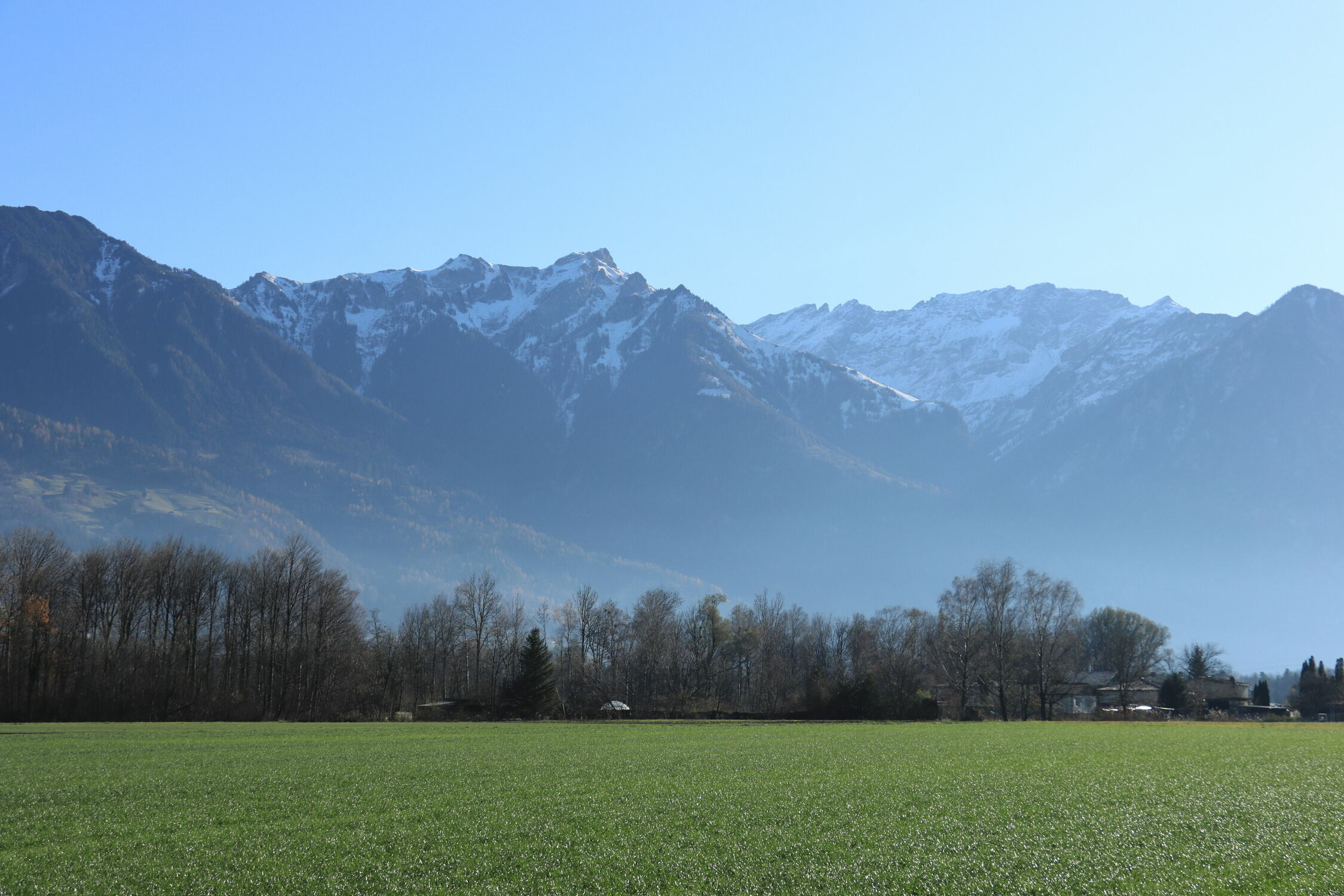 Bild mit Landschaften, Berge, Bäume, Ackerland