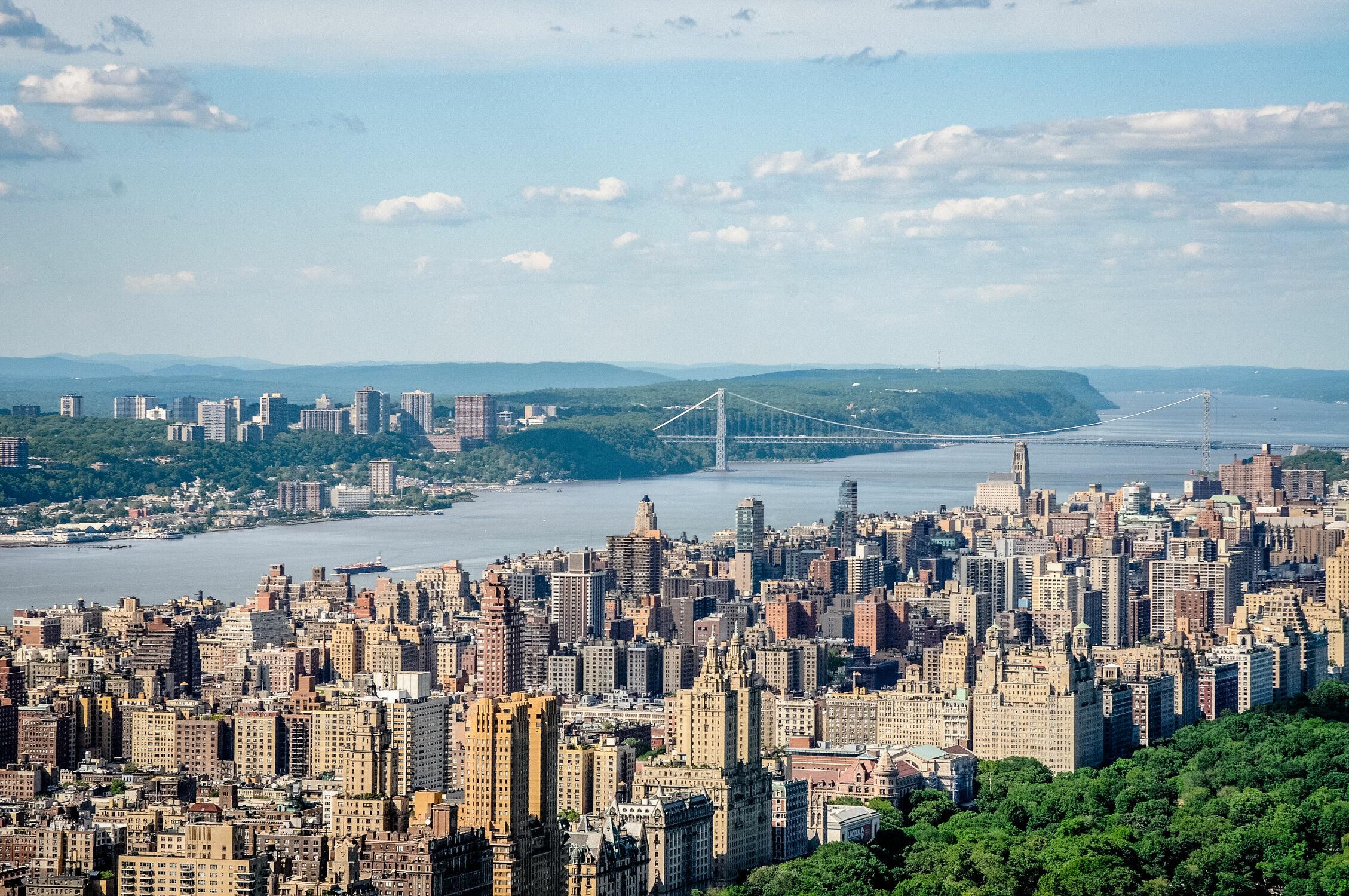 Bild mit Brücke, New York, Skyline, aussicht, Broklyn Bridge
