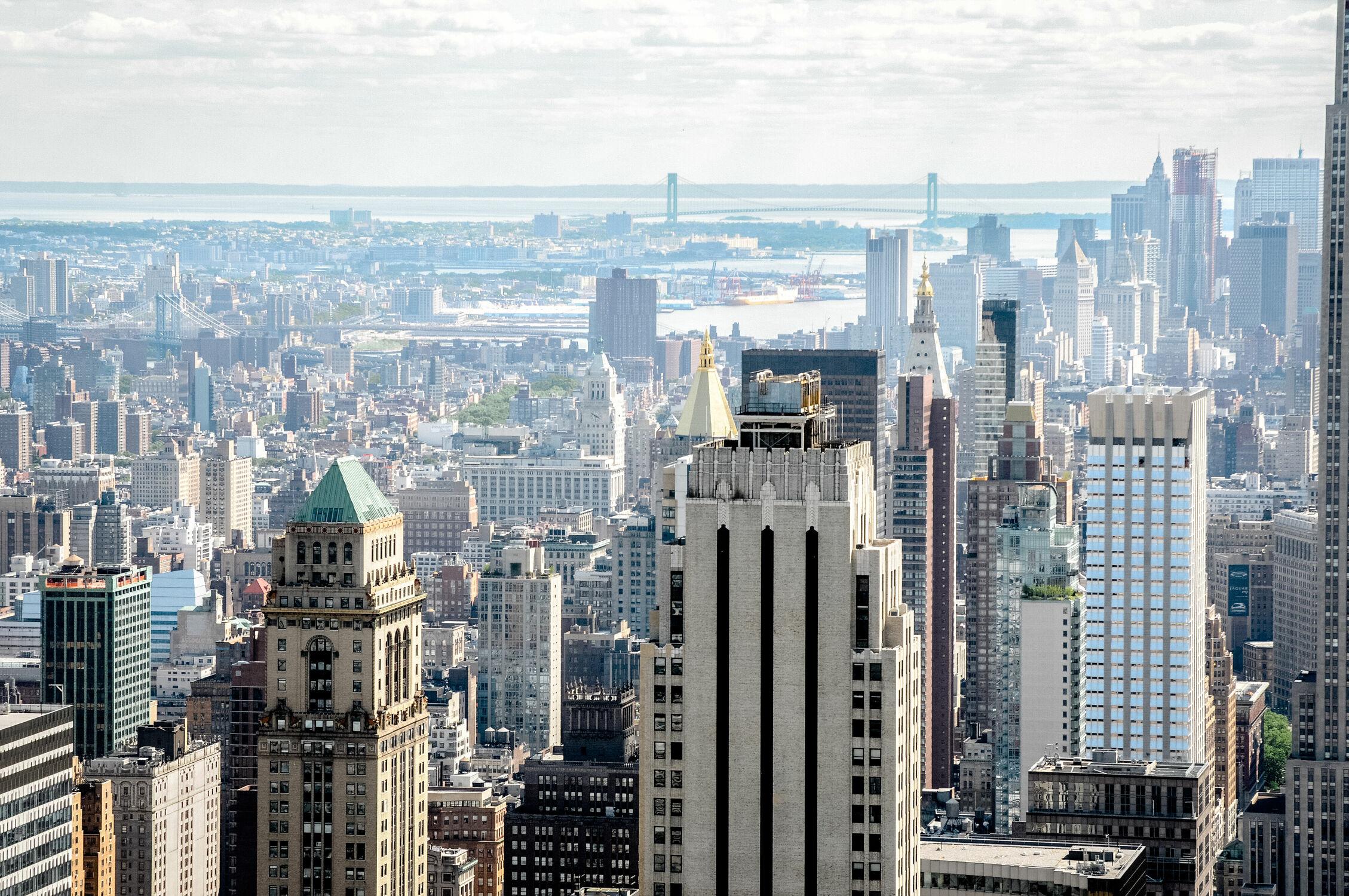 Bild mit Brücke, New York, Skyline, Brooklyn Bridge, aussicht