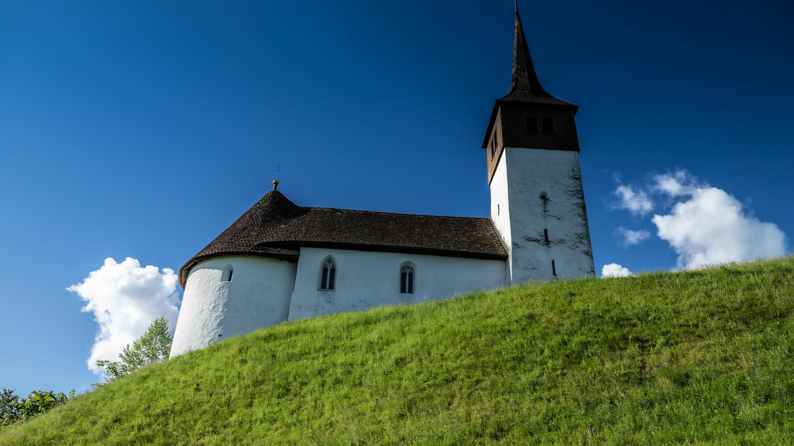 Bild mit Landschaft, Wolkenhimmel Panorama, Kirche, Kapelle
