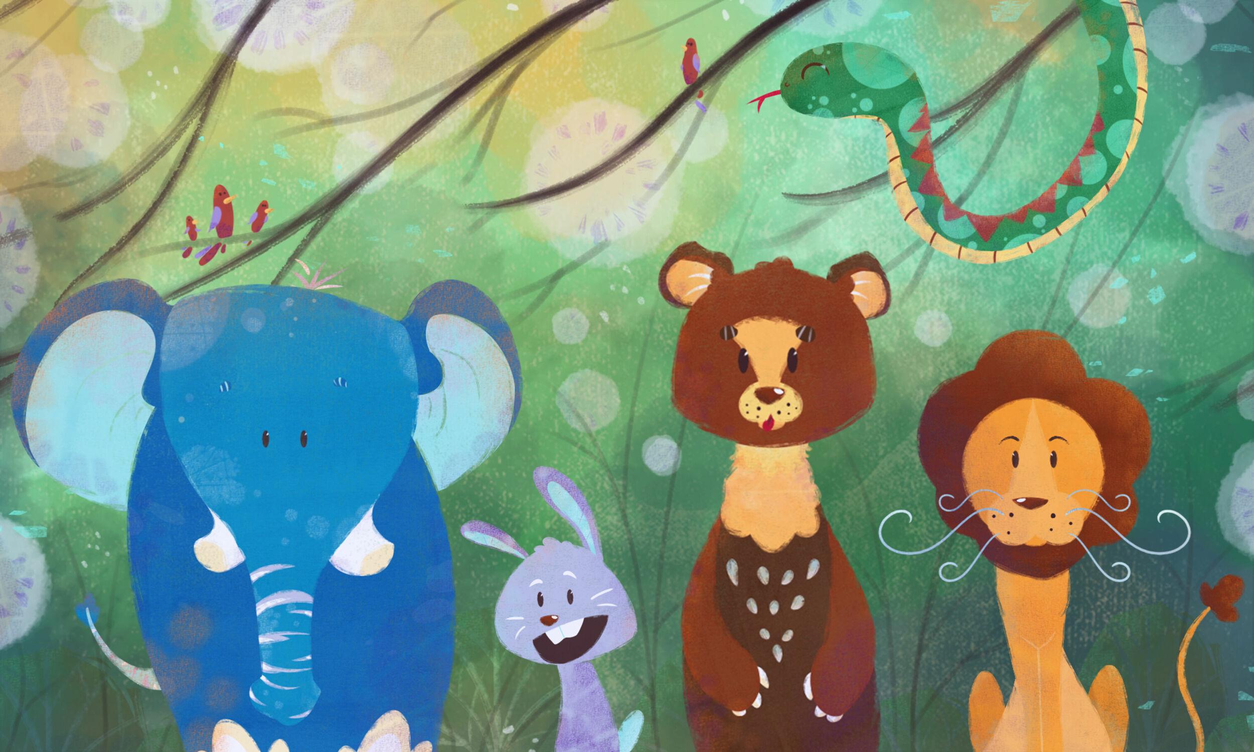 Bild mit Tiere, Wald, Märchenwald, Kinderbild, Kinderbilder, Kinderzimmer, Zoo, Elefant, Dschungel, waldtiere