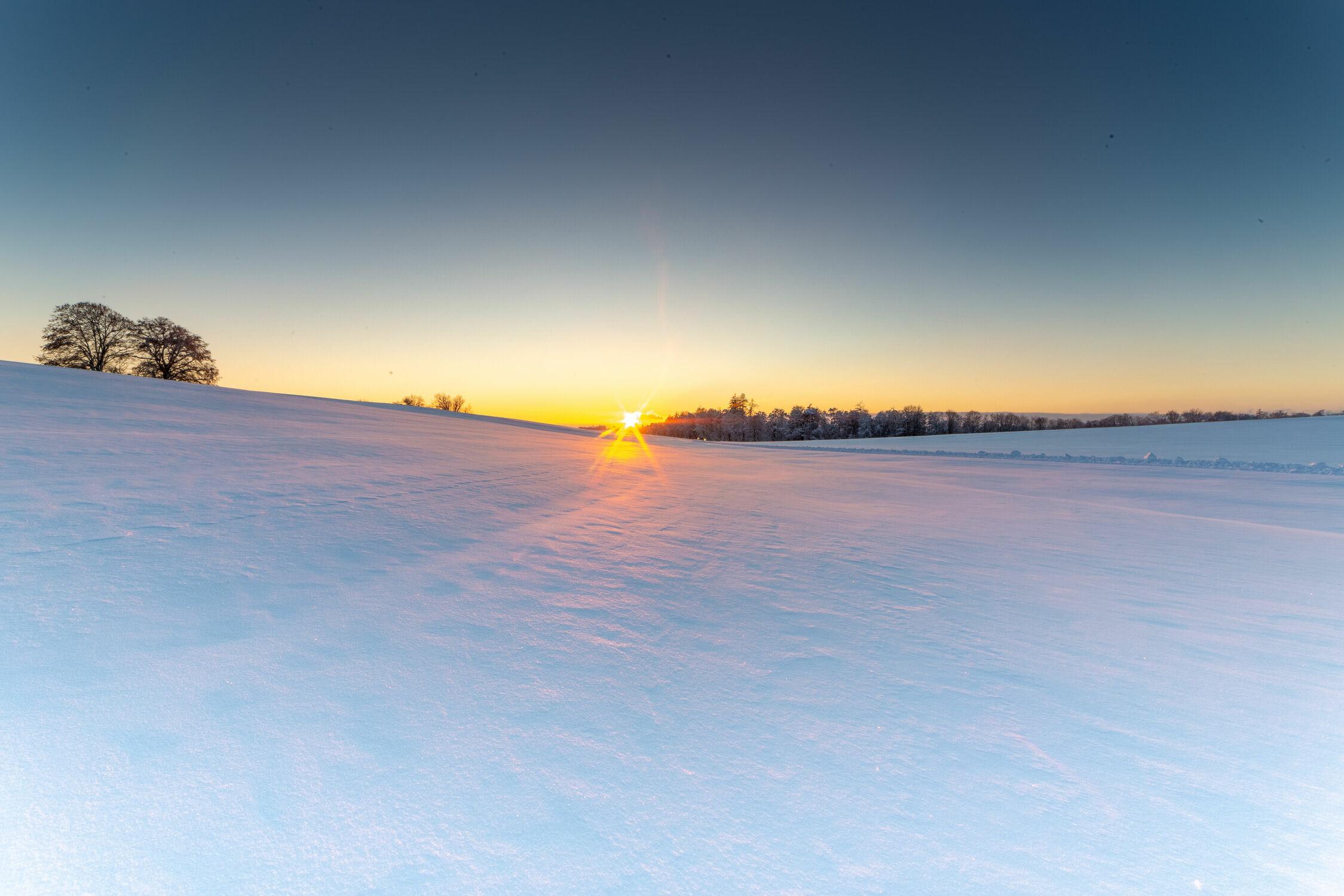 Bild mit Schnee, Sonnenuntergang, Schaffhausen