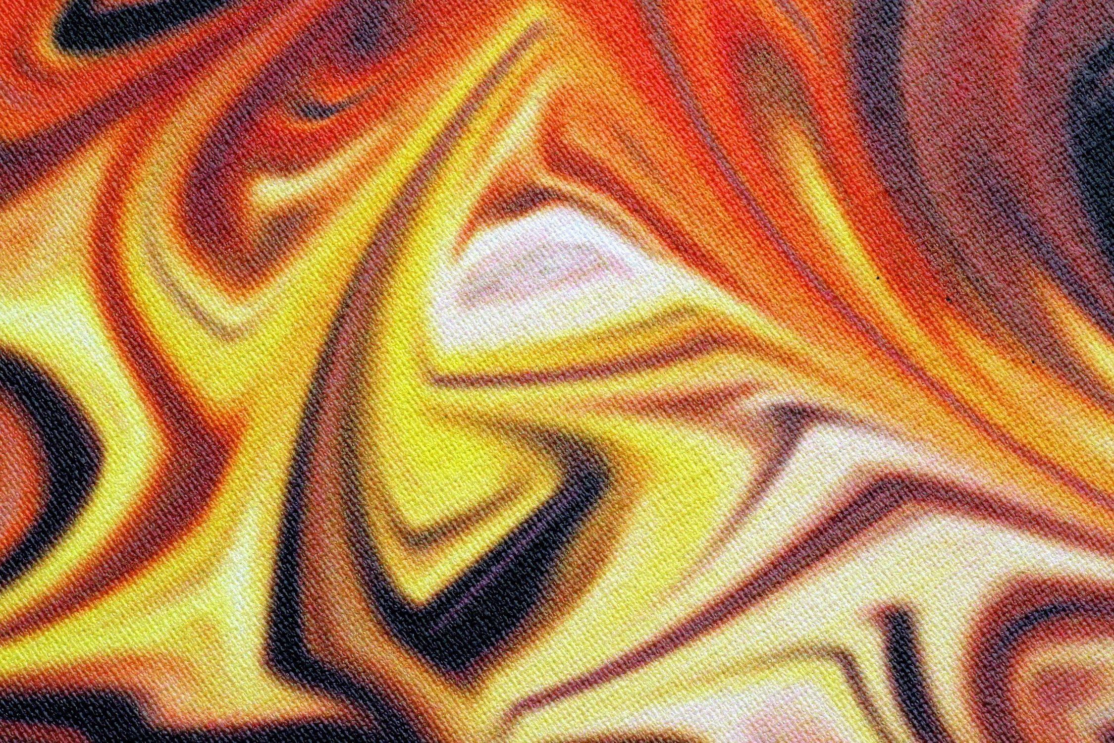 Bild mit Farben, Orange, Gelb, Gegenstände, Schriftstücke, Schriften, Kunst, Struktur, Abstrakt, Leinwand Struktur, Canvas
