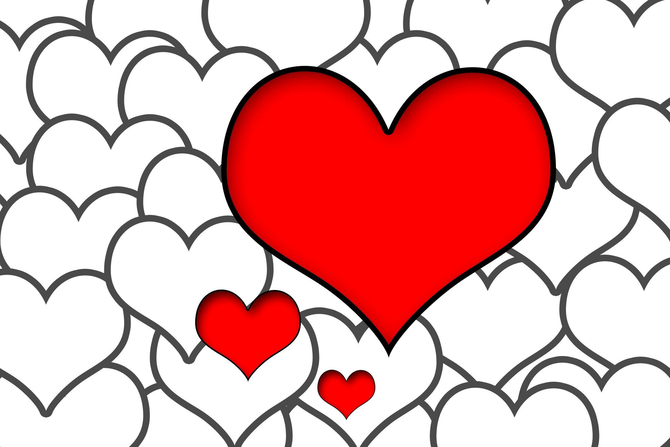 Bild mit Farben, Gegenstände, Rot, Aktivitäten, Urlaub, Figuren und Formen, Herzen