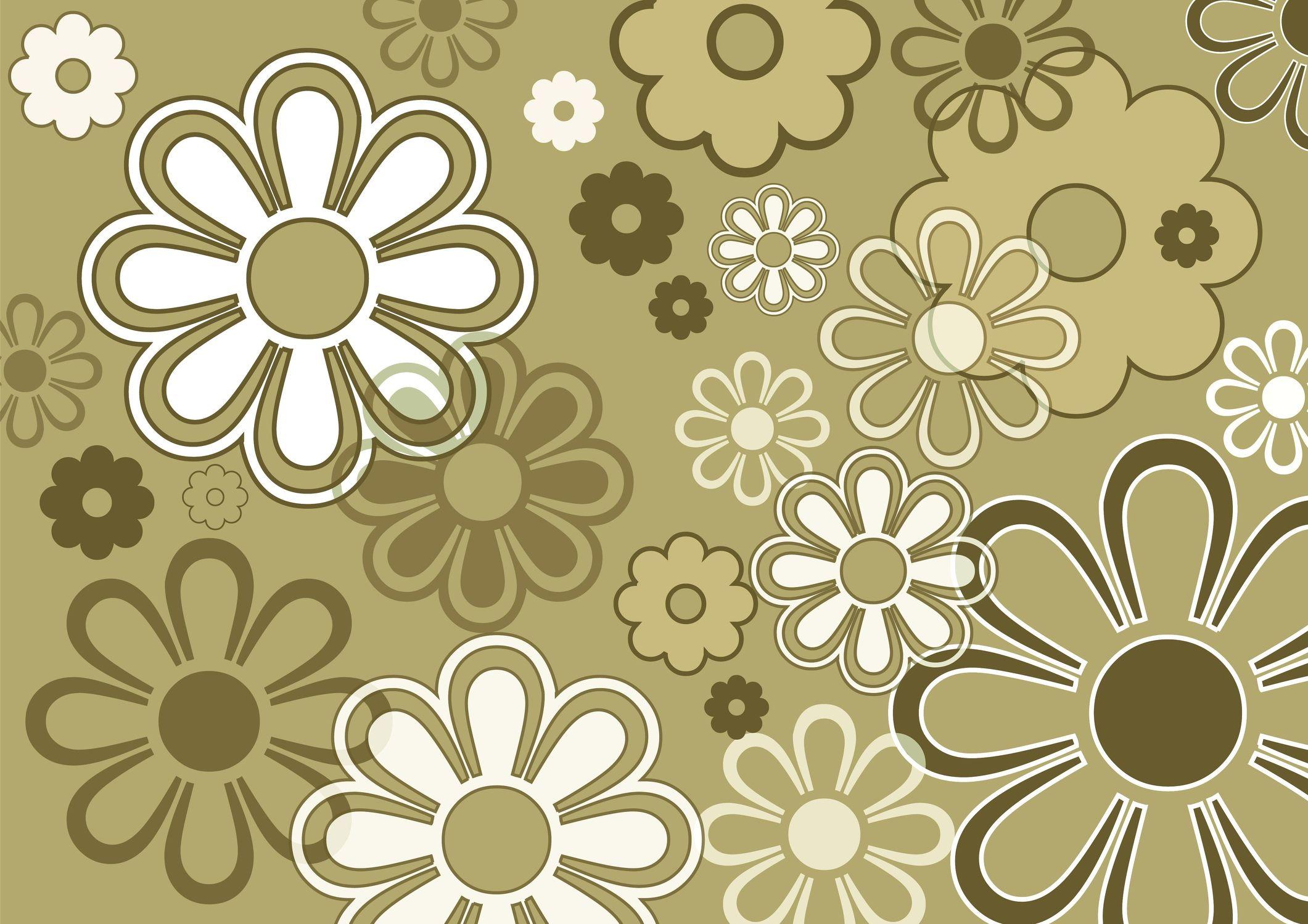 Bild mit Abstrakt, Abstrakte Kunst, Abstrakte Malerei, Retro, Retro, 70er, wandtapete, fototapete, Blumenmotiv