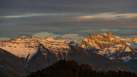 Bild mit Berge, Sonnenuntergang
