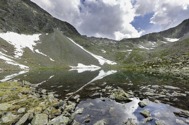 Bild mit Natur, Wasser, Berge, Gewässer, Alpen, Alpenland, Steine, Spiegelung, Wasserspiegelung, Alpsee