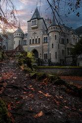 Bild mit Bäume, Herbst, Schloss, Weg, Burg, Niedersachsen, Laub, Schloss Marienburg