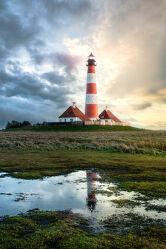 Bild mit Nordsee, Norddeutschland, Sonnenuntergang/Sonnenaufgang, Leuchtturm, Schleswig_Holstein, Westerhever, Leuchtturm_Westerhever