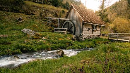 Bild mit Sommer, Landschaft, Wiese, Fluss, Mühle, schwarzwald