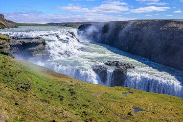 Bild mit Gletscher, Wolkenhimmel, Regenbögen, Wasserfall, island, gullfoss