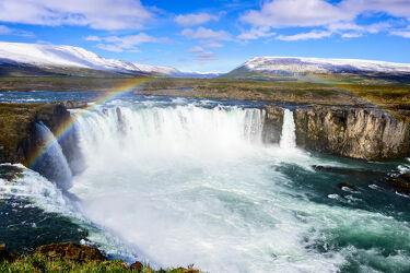 Bild mit Gletscher, Wolkenhimmel, Wasserfall, Gebirge, island, goðafoss