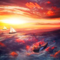 Bild mit Himmel, Rot, Segelboot, boot, art, Fantasie, Wal, Luft, fantastisch, killerwal