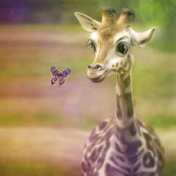Bild mit Schmetterlinge, Giraffe, Für Kinder, Kunst fürs Kinderzimmer, Freunde, niedlich, niedlich