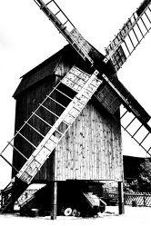 Bild mit Windmühle, schwarz weiß, Mühle, SW