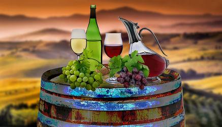 Bild mit Himmel, Wolken, Getränke, Weintraube, Weintrauben, Wein, Getränk, rotwein, rotweinglas, weinflasche, weinflasche, Weisswein, weißwein, fass, weinfass, karaffen