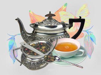 Bild mit Küchenbild, Blüten, Küchenbilder, Schmetterling, KITCHEN, Küche, Küchen, Tee, Vesper, Tasse Tee, Teesorten, Teegetränk, Teekanne, tea time