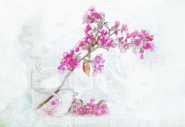 Bild mit Pflanzen, Blumen, Zeichnung, Blume, Pflanze, romantik, Floral, Stilleben, Blüten, Florales, Textur, blüte, Grafik, romantisch, romantisch, Zweige, Blumenvase, Zweig, zen, zen, grafisch, vase, blütenstrauch
