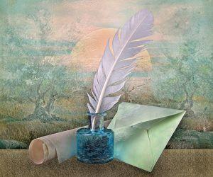 Bild mit Himmel, Bäume, Federn, Landschaft, romantik, Toskana, Stilleben, garten, Freundschaft, romantisch, Liebe, Emotionen, Feder, Schreiben, briefe, tintenfass, brief, gedanken, emotional, toscana