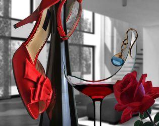 Bild mit Essen, Blumen, Rosen, Trinken, Fenster, Schuhe, Blume, Rose, Floral, Food, Stilleben, Florales, Wein, rotwein, rotweinglas, weinglas, weinflasche, ohrring, wohnzimmer