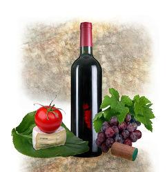 Bild mit Früchte, Essen, Trinken, Frucht, Obst, Tomate, Tomaten, Weintrauben, Food, Wein, getränk, rotwein, weinflasche, Käse, rotweinflasche