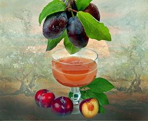 Bild mit Natur, Himmel, Bäume, Wolken, Früchte, Essen, Sonnenuntergang, Glas, Sonne, Baum, Frucht, Obst, Food, Toskana, Saft, pflaume, pflaumen, Pflaumensaft, getränk.trinken