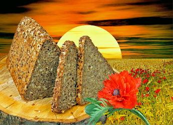 Bild mit Himmel, Wolken, Essen, Blumen, Sonnenuntergang, Mohn, Sonne, Blume, Mohnblüte, Floral, Food, Stilleben, Blüten, Florales, blüte, Küche, Kornfeld, Korn, brot, brote, vollkorn