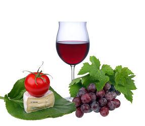 Bild mit Glas, Trinken, Tomate, Tomaten, Weintrauben, Stilleben, Wein, getränk, rotwein, rotweinglas, Käse, weinblätter, weinlaub