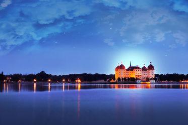 Schloss Moritzburg in der Nacht