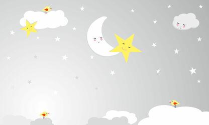 Bild mit Wolken, Mond, Illustration, Kinderbild, Kinderbilder, Kinderzimmer, Kinderwelt, Sterne, Sternenhimmel, Babyzimmer