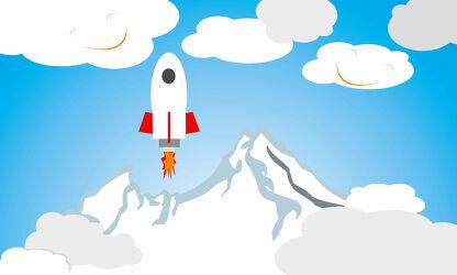 Bild mit Berge, Wolken, Illustration, Kinderbild, Kinderbilder, Kinderzimmer, Kinderwelt, Babyzimmer, Astronaut, Rakete