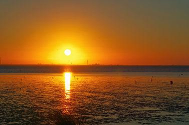 Panorama Sonnenuntergang am Wattenmeer