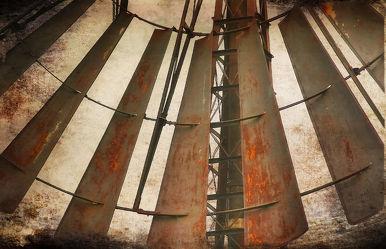 Rusty metal windmill