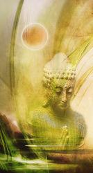 Bild mit Mond, Landschaft, Ruhe, Entspannung, Stilleben, Buddha, Buddha, Digital Art, Wellness, Fantasie, Textur, Feng Shui, Stille, Nacht, Abend, asien, Buddhismus, Indien, Beten, Gebet, Religion, Dekoration, zeitlos, ASIATISCH, zen, fraktal, digital, yin yang, dekor, fractal, zeitgenössisch