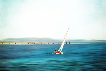 Bild mit Segeln, Surfen, Strand, Ostsee, Meer, Nordsee, Textur, VINTAGE