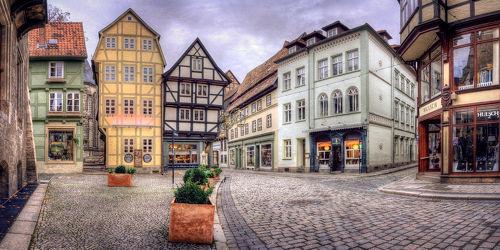 Bild mit Gebäude, Städte, Häuser, Haus, Landschaft, Stadt, landscape, dorf, Weltkulturerbe, Quedlinburg