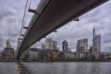 Bild mit Architektur, Städte, Brücken, Stadt, Brücke, City, Skyline, main, hessen, frankfurt, am main