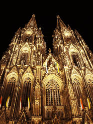 Bild mit Gebäude, Städte, Stadt, Kirche, Köln, Nacht, Kathedrale, Dom, historisches Gebäude, kölner dom