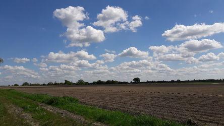 Bild mit Natur, Landschaften, Himmel, Straßen, Wolken am Himmel, Blauer Himmel, Landschaften & Natur, Natur und Landschaft, Fotografien, Ackerland