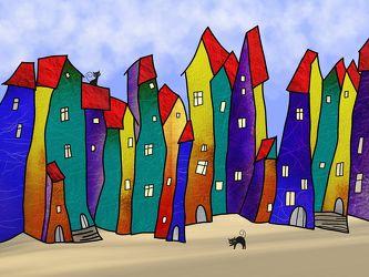 Bild mit Gebäude, Häuser, Haus, Abstrakt, Kinderbild, Kinderbilder, Kinderzimmer, Bunt, Kinder, hundertwasser